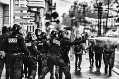 Arrested... (JM@MC) Tags: marseille police gas arrested protest demonstration blackandwhite noiretblanc france reportage