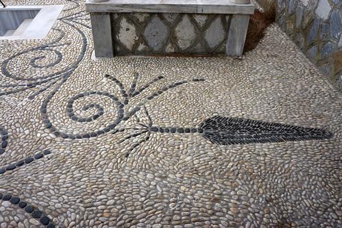 Cuttlefish pebble mosaic, Falatados, Tinos
