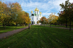 Lawn in front of the Cathedral. (fedoseenko) Tags: санктпетербург россия красота colour природа beauty blissful loveliness beautiful saintpetersburg sunny art shine dazzling light russia day green park peace garden blue white голубой небо лазурный color sky pretty sun пейзаж landscape clouds view heaven mood summer serene golden gold gate colours picture hall road tree grass nature alley history trees tsar stairway walkway field autumn outdoors old d800 wood cathedral church cupola holy orthodox path religion building foliage 1735mmf28d architecture catherine domes shrines town