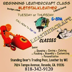 Interested in a Leather Class? Want to learn to do leatherwork? Class Sign up Start TODAY at 10AM for the January-June leathercraft classes! Call us starting at 10AM (no Early Birds) Get your name on the list TODAY by calling 818-342-9120. Learn to do lea (standingbears) Tags: instagram lets talk leather leathercraft supplies think outside big box shop small