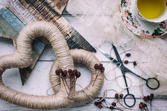 329/365: Rustic wreaths (judi may) Tags: 365the2018edition 3652018 day329365 25nov18 wreaths rustic string flatlay berries cupandsaucer cupoftea vintage stilllife canon5d 50mm christmas