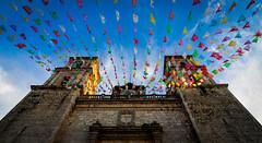 Valladolid (RWGrennan) Tags: mexico church flags papel picado sky light sunset clouds air peace love travel valladolid iglesia de san servacio prayer rwgrennan rgrennan ryan grennan color colorful nikon d610 up blue historic spanish central america yucatan coco day dead