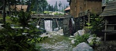 """"""" The Old Town """" (maka_kagesl) Tags: second secondlife sl life game gaming building virtual videogame water waves woods wood wave wall window edit river rocks tree trees yard ground garden grass photography photo picture"""