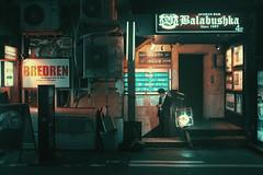 Meeting at Balabushka (Laser Kola) Tags: fujifilm x100s streetphotography laserkola lasseerkola nightphotography citylife urbanphotography neoncity cyberpunk balabushka bar 35mm moody dreamy streetclassics nightlights alone cinematic
