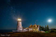 Oh, Starry Night (Christina DeAngelo) Tags: lighthouse tower pemaquidpointlight pemaquidpoint bristol maine newengland coast night nightscape bluehour stars starry milkyway galaxy light building house fence picket landscape