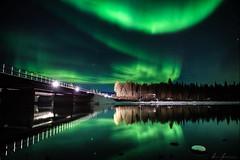 Reflections at the bridge (R.J. Photography) Tags: auroraborealis sweden swedishlapland nightsky longexposure reflection nature landscape