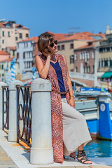 Ensemble fluide (ElodieCrea) Tags: habits vêtement femme clothes clothing outfit woman liquette panthère top bleu jupeculotte beige viscose venise été printemps spring summer