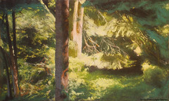 Glow (Daria Kucharczyk (LionheART)) Tags: art artist artwork landscape leaves light green forest tree trees drawing painting pastel pleinair soft mysterious artschool sun sunset warsaw summer spring colorful realistic realism nature