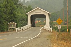 Covered Bridge, Grave Creek, OR (Robby Virus) Tags: gravecreek oregon or covered bridge sunny valley loop road historic interstate 5 i5 pacific highway grants pass grave creek smoke hazy