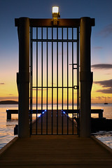 The Gate (carodz98) Tags: sea sunset pier color nogth beach cabo rojo puerto rico mar sol muelle boqueron portón rejas gate noche sunday atardecer sky cielo water landscape