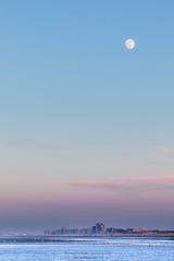 one day before the full moon (ylemort) Tags: sunset sea dusk nature sky beach outdoors landscape blue scenics water coastline reflection night summer winter sunrisedawn beautyinnature sun sunlight everypixel canon canon5dmkiv koksijde belgique belgium kust