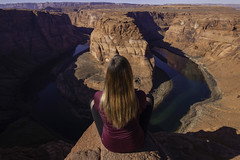 (maknsandwiches) Tags: arizona az horse shoe canyon hair model girl sitting cliff edge river colorado red page horseshoe bend landscape december mid day shadows pose canon tamron