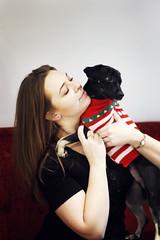 (Saulė Ad photography) Tags: dog doggo puppy owner person girl woman happy hold pet animal black sweater christmas hair pose lithuania kaunas lietuva