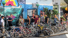 People near the Bedford Avenue Subway Station (dckellyphoto) Tags: newyorkcity newyork 2015 usa nyc williamsburg bikes bicycles street people