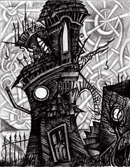Abandoned (Skyler Brown Art) Tags: abandoned angst architecture art artwork bw blackwhite blackandwhite charcoal creepy dark darkness depressing drawing emotional goth gothic graphite greyscale haunted house industrial ink intense macabre moon ominous paper pen pencil sad scary smoke surreal tree weather