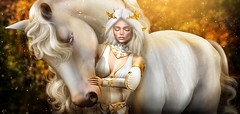 Spirits (meriluu17) Tags: zenith glamaffair elven elf fantasy horsie horse pet animal white forest people surreal nature spirit spirits dream daydream feeling portrait