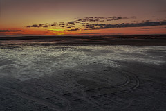 Playtime At Lowtide (Karl Ruston) Tags: beach sky landscape water sunset tracks sand