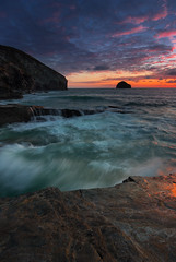 Trebarwith twilight (snowyturner) Tags: sea cornwall trebarwith cliffs waves sunset clouds portrait rocks coast outside national water beach nature blue rebel eos canon