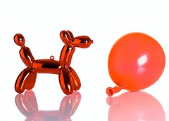 Balloon Dog (Karen_Chappell) Tags: dog balloon decoration white reflection stilllife reflections product ornament red