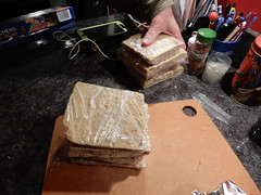 suet cakes. YUM. (Just Back) Tags: protein fat grease square cut sliced knife sharp oatmeal flour meal birds lard mantaca blackbird wren woodpecker titmouse food chickadee calories health hungry winter invierno