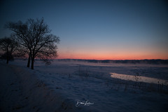 Dry Ice (Dawn Loehr Photography) Tags: dawnloehrphotography canon5dmarkiv sunrise snow winter trees blue steam river mississippiriver