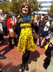 On Strike! (justplainrachel) Tags: justplainrachel rachel cd tv crossdresser transvestite yellow dress frock sign protest rally march australia cardigan wollongong ss4c climatechange schoolstrike