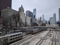 Arrival (ancientlives) Tags: chicago illinois il usa travel trips downtown loop skyline city cityscape skyscrapers architecture buildings towers railway trains trainstation metra walking streetphotography monday november 2018 autumn tracks