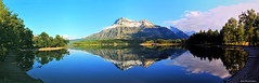 Reflections of Vimy Peak & Mount Boswell in Lower Waterton Lake with Mount Cleveland in the far Distance, Waterton Lakes National Park, Alberta, Canada (Black Diamond Images) Tags: watertonlakes waterton msice watertonlakesnationalpark reflections vimypeak mountboswell watertonlake mountcleveland westernusatrip2018 canond60 1770 2018 microsoftimagecompositeeditor msicepanorama alberta watertonlakesnationalparkofcanada parcnationalducanadadeslacswaterton lowerwatertonlake lakereflections canada travelalberta albertatravel albertaholiday holidayalberta