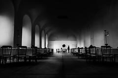 Dinner for one (heinzkren) Tags: schwarzweis blackandwhite bw sw monochrome saal speisesaal light shadow indoor samsung diningroom room mystery butler diener table chair schlos castle ambiente silhouette