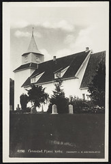 postkort (Avtrykket) Tags: eksteriør grav kirkegård middelalderkirke postkort grimstad austagder norway nor