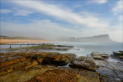 Where's the headland? (JustAddVignette) Tags: australia avalonbeach clouds cloudy dawn fog headland hightide landscapes longexposure mist newsouthwales northernbeaches ocean rocks seamist seascape seawater sky sunrise swell sydney water waves