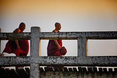 Monks Cross Over U Bein Bridge (El-Branden Brazil) Tags: myanmar burma burmese monks buddhism buddhist southeastasia asian asia mandalay ubeinbridge happyplanet asiafavorites