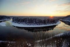 sunset (daimak) Tags: lithuania neris winter landscape river woods sunset sky wideangle europe sonyilce7