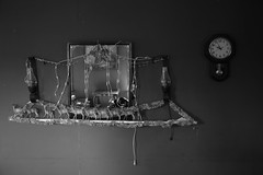 wall hanging (Paul Comstock) Tags: 14nov2018 2018 november wednesday fall autumn newpaltz newyork canon6d canon 6d coffeyroad coffeysisters coffeysistersfarm blackandwhite monochrome bw wallhanging clock mirror pendulum
