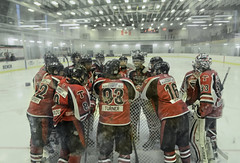 The Pregame Huddle (Paul B0udreau) Tags: nikkor1855mm photoshop canada ontario paulboudreauphotography niagara d5100 nikon nikond5100 layer hockey arena beamsville thorold blackhawks blades red winter