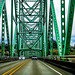 Crossing the Astoria–Megler Bridge. It´s a steel cantilever through truss bridge in the northwest United States that spans the lower Columbia River, between Astoria, Oregon, and Point Ellice near Megler, Washington.