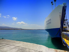 Antiparos Port. Ferry Unloaded (dimaruss34) Tags: newyork brooklyn dmitriyfomenko image sky clouds greece antiparos sea water port pier ferry