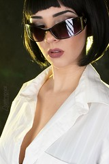 Kali (austinspace) Tags: woman portrait spokane washington brunette wig pulp fiction uma thurman glasses bra shirt