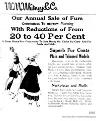 whitney's dept store  women's  fur coat ad  1918 (albany group archive) Tags: early 1900s old albany ny vintage photos picture photo photograph history historic historical