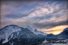 Zucchero a velo (Gio_guarda_le_stelle) Tags: dolomiti dolomites dolomiten sunset alpenglow clouds ice snow frozen air light sun stripes trees bosco alpi alps 4x4 i paesaggio panorama