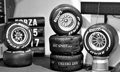 Slicks (@WineAlchemy1) Tags: slicks tyres pirelli pzero formula1 rubber ferrari boots racing softs museoferrari maranello emiliaromagna italy blackwhite monochrome noiretblanc neroebianco alloys rain intermediate