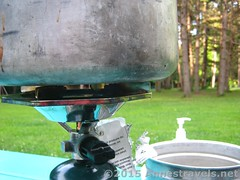 Coleman Single Burner Propane Stove Close Up (Anne's Travels3) Tags: coleman propane stove review green
