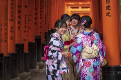 Fushimi Inari-taisha (Alexander JE Bradley) Tags: colourful happy friendship 70200mmf28 afsvrzoomnikkor70200mmf28gifed nikon70200mmf28fl d500 nikkor nikon japan asia kansai kyoto fushimi fushimiinaritaisha fushimiinari fushimiinarishrine religious temple shinto shrine torii festival people group girls female fashion kimono traditionalclothes day handheld morning naturallight photograph alexanderjebradley photography travel tourism travelphotography wwwalexanderjebradleycom wwwaperturetourscom aperturetours jp