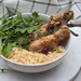 Chicken Drumsticks with Rice and Arugula