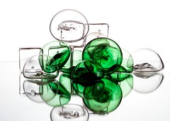 Glass Bubbles & Cubes (Karen_Chappell) Tags: glass white green bubble bubbles icecubes reflection abstract stilllife refraction reflections icecube circle square shape shapes