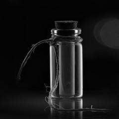 Message in a bottle, for MM (Wim van Bezouw) Tags: macromondays centersquarebw bw sony ilce7m2 bottle message