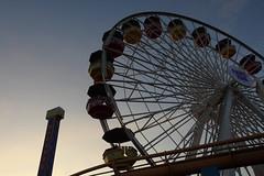 Los Angeles - Pacific Park (Drriss & Marrionn) Tags: losangelesca usa california losangeles santamonicapier pier santamonica citytrip outdoor sunset water sun ocean sea sky pacificocean black nightshot carousel evening