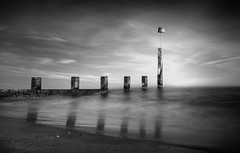 Dicking About (Chris Willis 10) Tags: bournemouth blackandwhite sky sea water nopeople monochrome outdoors nature cloudsky famousplace coastline architecture landscape tower sunset reflection scenics mono