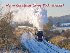 Christmas Card! (Deepgreen2009) Tags: christmas greetings card season winter wishes snow surrey steam uksteam railway train transport pullman luxury belmond vsoe bulleid pacific 35028 gomshall scene white frozen clanline merchantnavy friends flickr