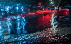 waiting in the rain (pbo31) Tags: sanfrancisco california night dark christmaseve december 2018 color nikon d810 boury pbo31 city urban lightstream motion traffic roadway black rain wet blue red reflection nobhill street window storm bokah abstract